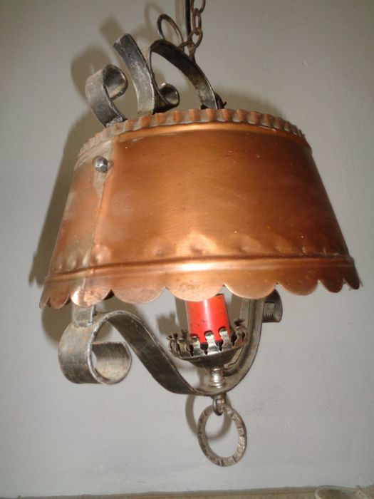 4 Piece antique ceiling lamp bronze 1920