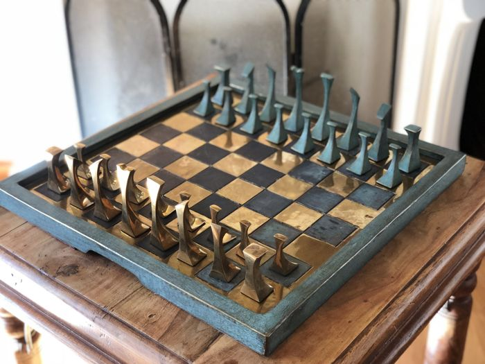 Abstract art of pure bronze chess set. Great weight