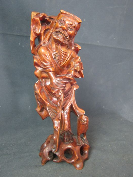 Large carved wooden sculpture - China - mid 20th century