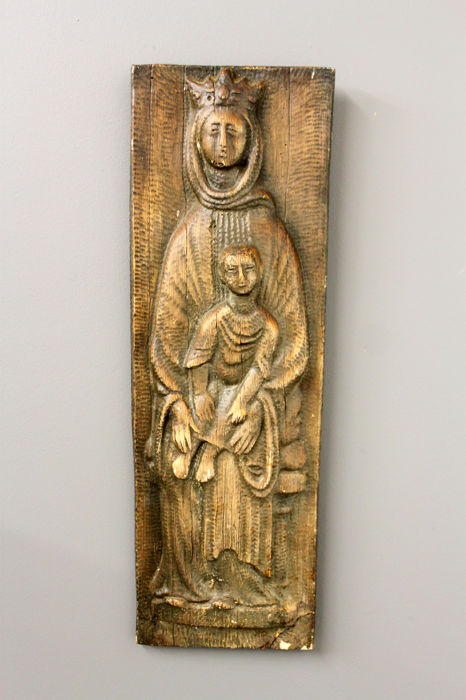 Antique French wooden Holy Mary Carving, 19th Century