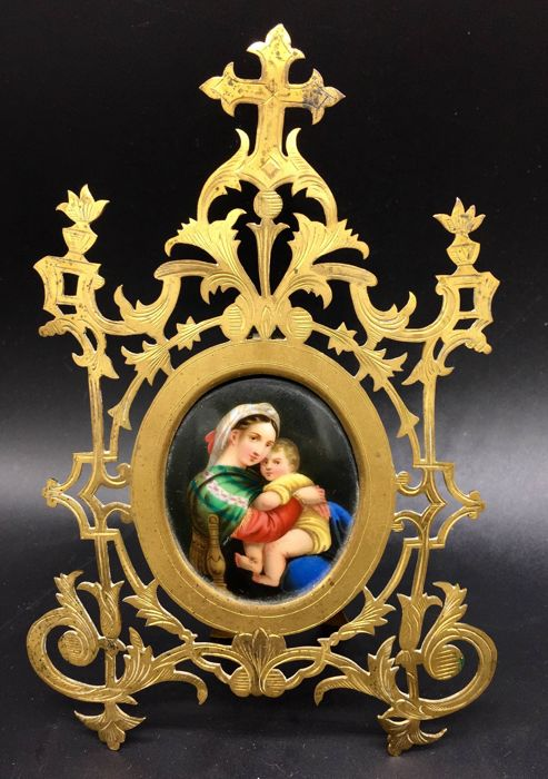 Madonna with Child - miniature painted on porcelain - gilded bronze frame - early 20th century