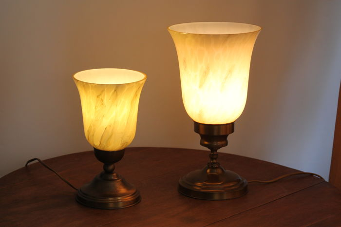 table lamps with marble glass shades and bronze foot set of 2 pieces