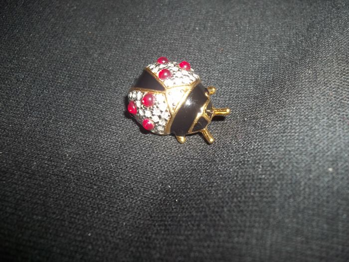 Joan Rivers© Collection Faberge Ladybug Brooch - 24 Carat Gold-plated Black Russian Enamel brooch with 51 red and white rhinestones - Marked - Like new.
