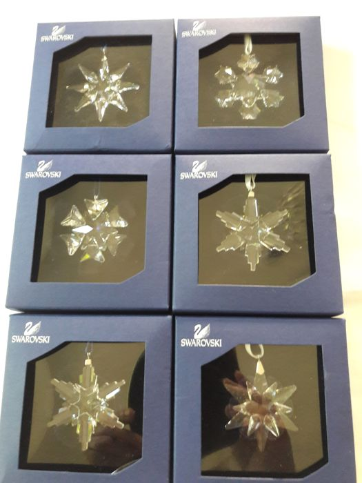 Swarovski (6) lot with stars, snowflakes, Christmas ornaments, small, new, rare!