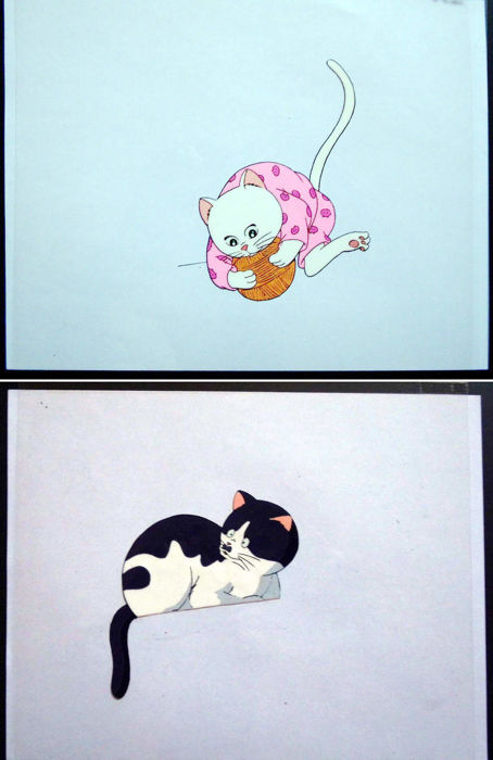 What's Michael? (Howattsu Maikeru?) - 2 pretty cats - Animation cels - First edition - (1988/1989)