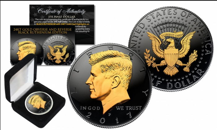 USA - John F. Kennedy JFK Half Dollar Black Ruthenium Gilded with Box & Certificate