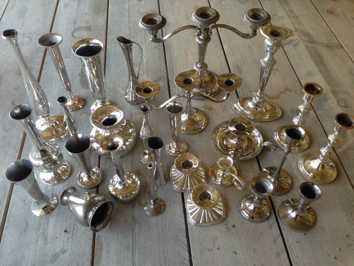 Nice collection of silver plated vases and candle holders 27 in all