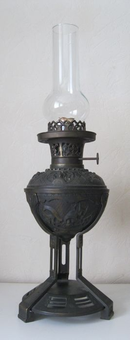 A large bronze brass standing art nouveau style oil lamp, Fuscos BV Enschede Holland