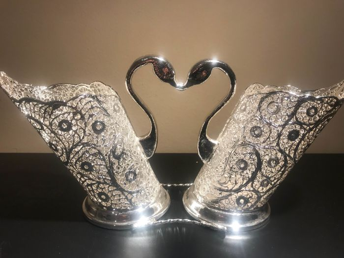 beautiful silver plated cutlery with swans, handmade with filigree technique