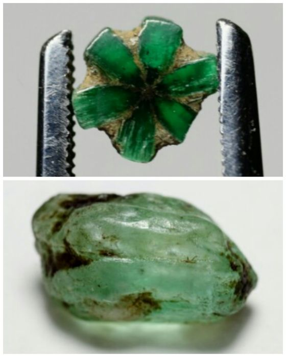 Emerald and Trapiche Emerald Crystal - - - 10 ct. - (2)