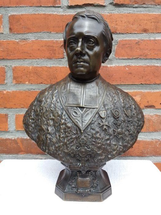 Felix Francois Roubaud (1825-1876) - beautifully executed bronze bust of a gentleman with awards - France - dated 1856