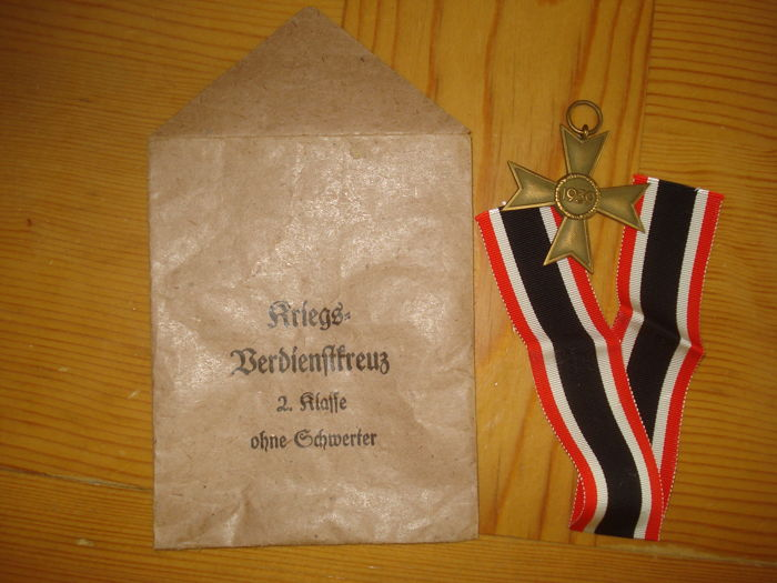war merit cross 2nd class with ribbon award certificate and presentation envelope