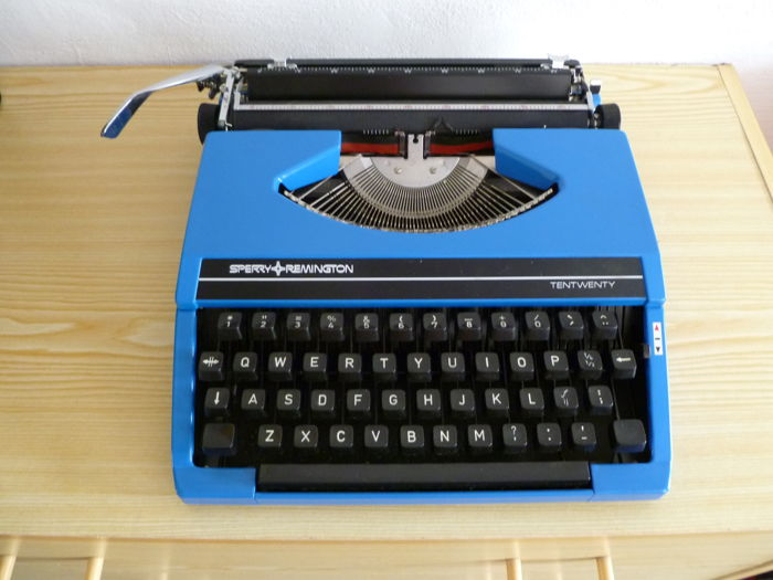 Vintage blue Sperry Remington Tentwenty typewriter office work