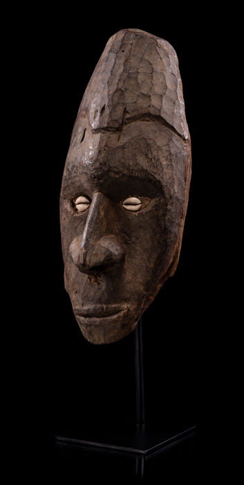 Ancient Frieze Mask with Pierced Nose from Pora Pora, Lower Sepik Region from an Old, German Private Collection, Purchased in 1964