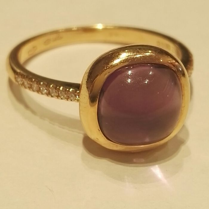 18 kt gold ring with 0.08 ct brilliant cut diamonds, colour H, clarity VS and 2.36 ct amethyst