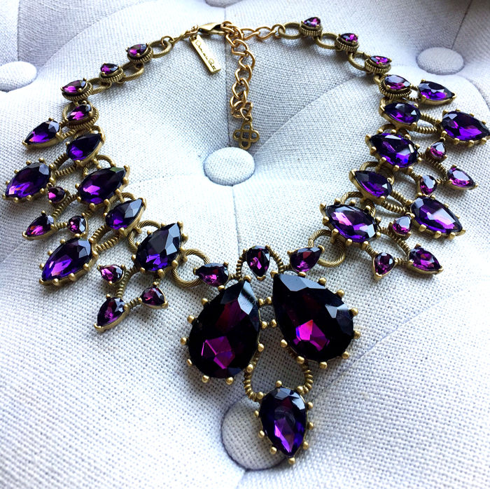 Oscar De La Renta - Purple Crystal  Necklace