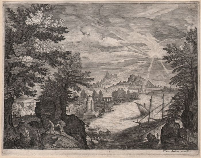 Aegidius Sadeler ( 1570-1629 ) - Riverscape  with some galleys at right