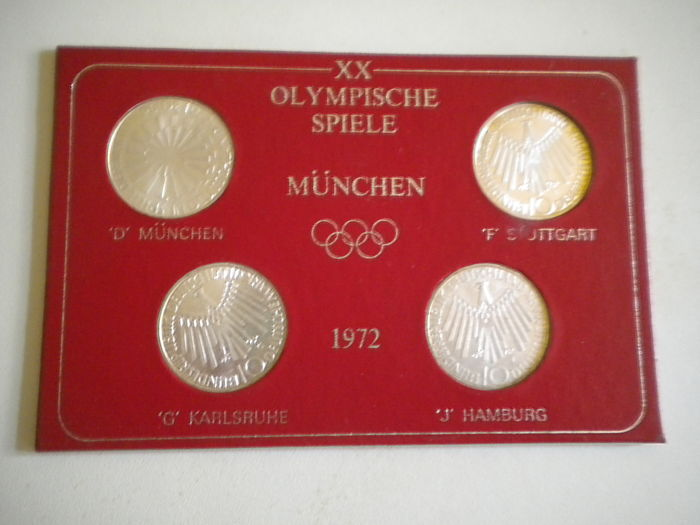 Duitsland - 4 x 10 Deutsche Mark 1972 Olympic Games 1972 in Munich - Zilver