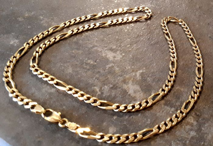 Necklace with Figaro links in 18 kt yellow gold Length: 52 cm, weight: 23 g