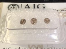 3 Oval Brown diamonds - 0.63 ct - SI 1 SI2 - *** Very low reserve price ***