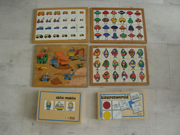 Five educational games as teaching materials and an old puzzle - 2nd half of the 20th century, the Netherlands, wood, plastic