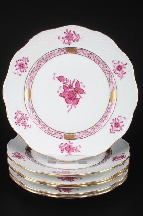 "HEREND AV Apponyi Purpur 6 cake plates 517 ""diameter 19"" plates with relief decoration and gold edge, porcelain, Hungary"