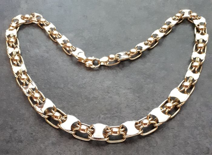 18 kt gold necklace Two-tone - 22 grams  Length: 45 cm