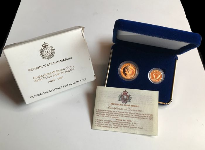 San Marino - Set 1 + 2 Scudi 1995 FS PROOF - Astuccio originale - Gold