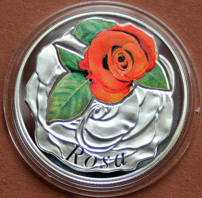 Wit-Rusland - 10 Ruble 2013 The Beauty of Flowers - Rosa - Zilver