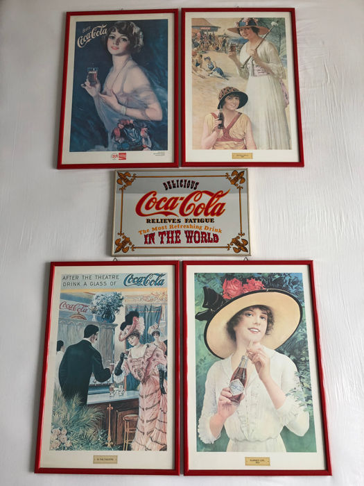 Reproductions of the original Coca-Cola advertising posters: 50th Anniversary Coca-Cola in Italy 1927, Beach Girls 1918, In the theatre, Summer Girl 1921 - Coca-Cola wall mirror
