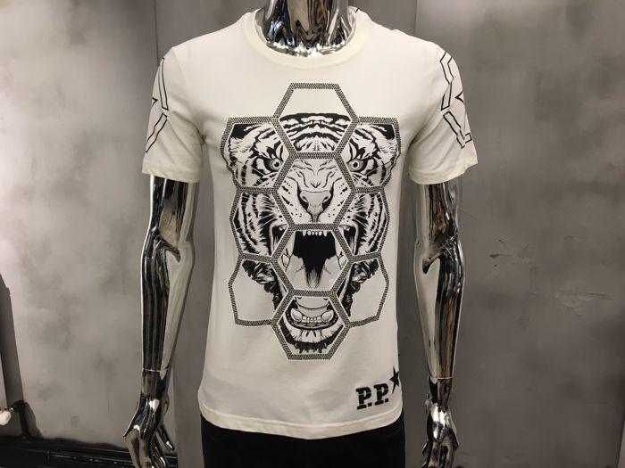philippe plein t shirt geometric tiger print t shirt. Black Bedroom Furniture Sets. Home Design Ideas