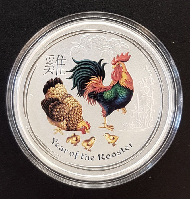 Australië - 1 Dollar 2017 Year of the Rooster - Coloured 1 Oz - Zilver