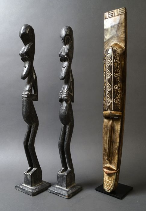 Couple wooden ancestor figures and wall mask - FANG Tribe - Gabon