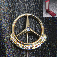 Old Mercedes Benz 1.000.000 Km Promo Pin Logo Emblem Brooch 333 Gold & Sapphire / Box