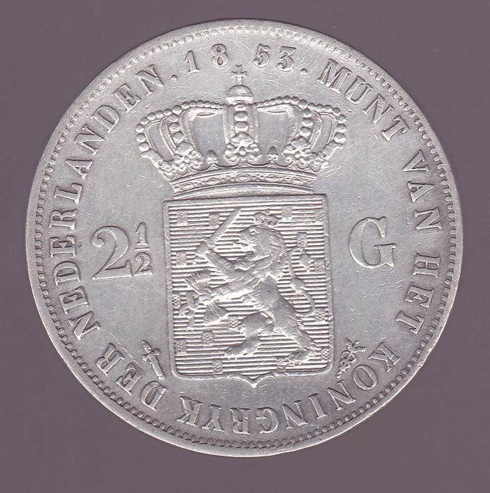 Nederland - 2½ Gulden 1853 over 52 (Overslag) Willem III - Zilver