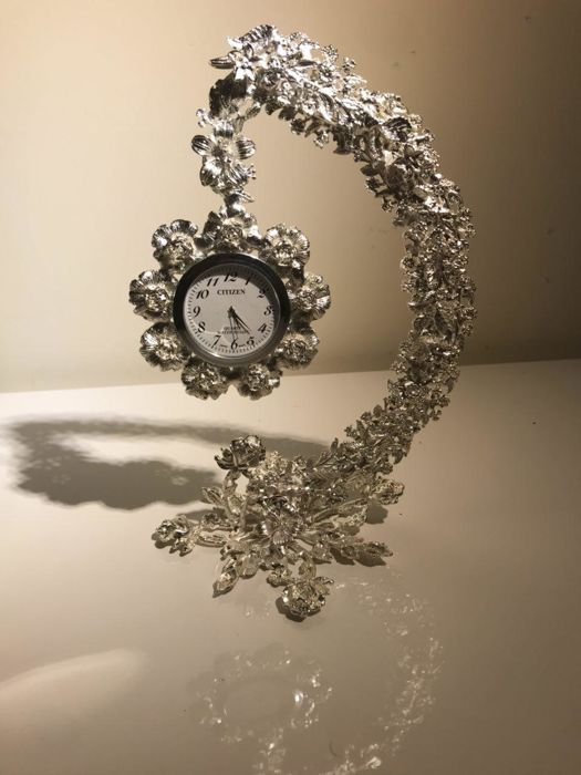handmade silver plated copper support for clock