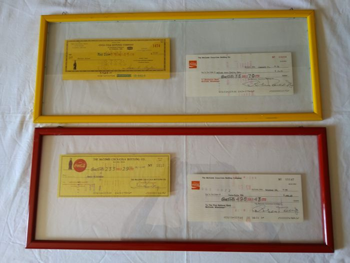 4 Coca-Cola Bottling Company Cheques - 1967 - 1976 - 1977 - framed in double glass, red and yellow frame 1967/1976/1977