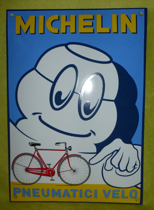 Enamel advertising for Michelin bicycle tyres - pneumatici velo