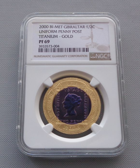 Gibraltar - 1/2 Crown 2000 'Gold Titanium Uniform Penny' in NGC Slab - Oro