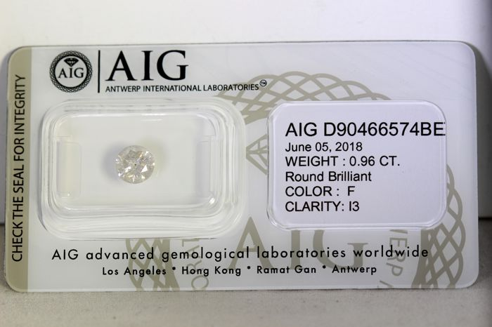 AIG Diamond - 0.96 ct - F, I3 -  Excellent cut - * NO RESERVE PRICE *