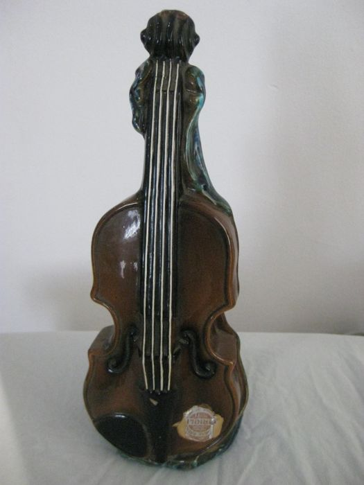 Violin shaped working music box liquor bottle