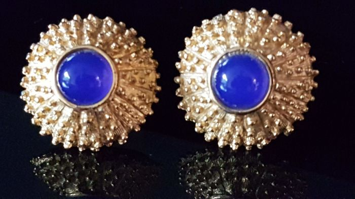 Christian Dior Cufflinks With Stud Blue Gold Color Combination Vintage Catawiki
