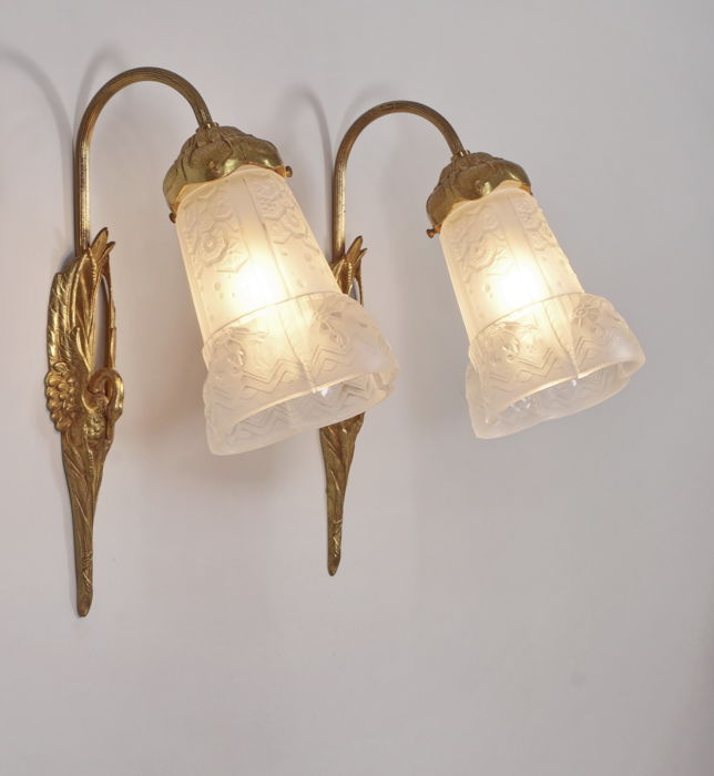 Muller frères & Charles Ranc - Art Deco wall sconces - gilded bronze ...