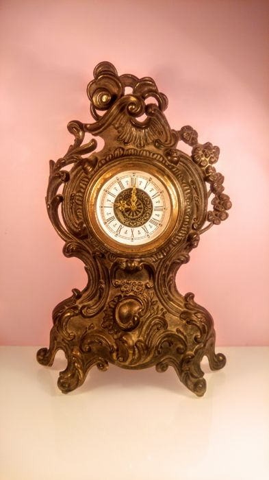 Vintage Baroque style mechanical Clock made in West Germany, ca. 1960's