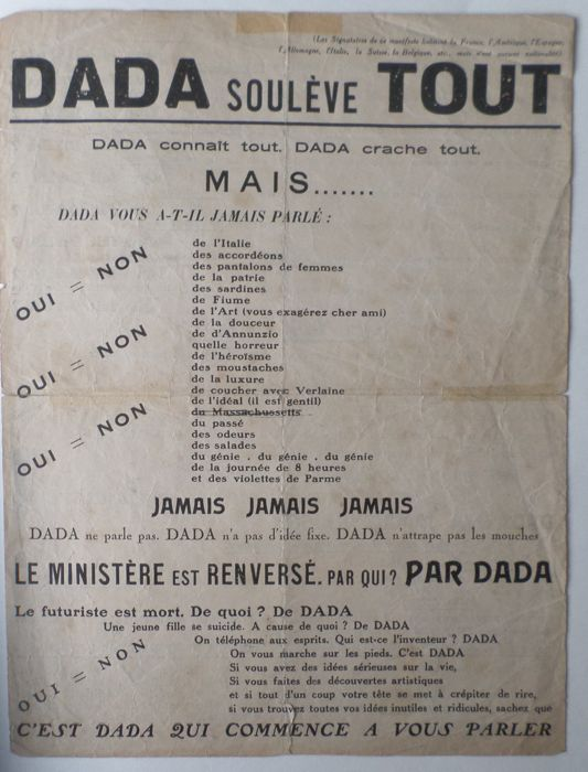 Marcel Duchamp, Francis Picabia, Philippe Soupault, Tristan Tzara, Man Ray a.o. - DADA soulève TOUT - 1921