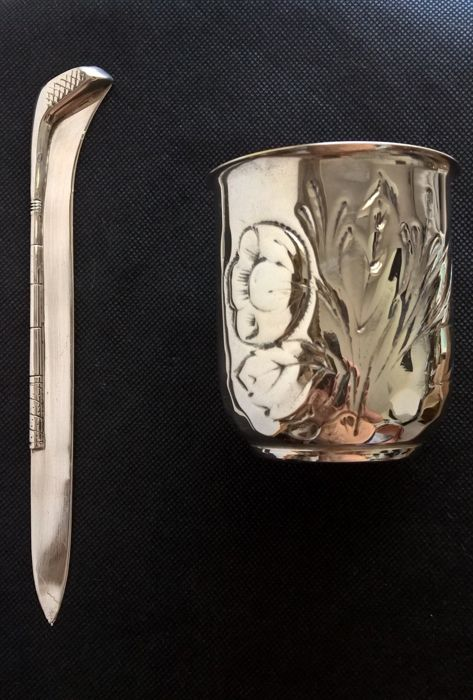 Hammered Silver Pen Holder + Letter Opener in silver 800 - Italy, 1970s/80s