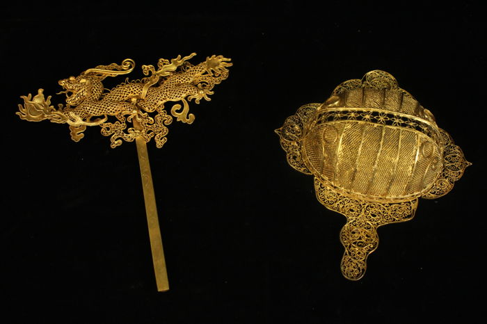 Gilded filigree Hairpin and ornament - China -  Late Qing period