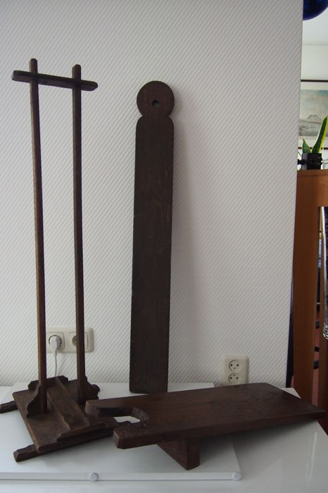 Two bootjacks; one for clogs, boot brush or saddle holder and oak knife board (4)
