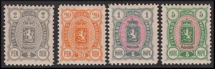 Finland 1889 - Coat of arms and figure in the 2 corners, lettering in Russian. - Unificato n. 28,31,33,34,35,29A,30A,32A