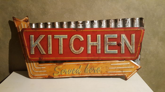 50/25,5cm - KITCHEN - a decorative table made of steel - composed of three old elements - USA - probably Vintage (?)+Old - metal plaque from Sweden - paint enamel 30,5 / 30,5 cm - Condition: Vintage ca. 1975 / 80y.
